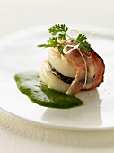 Scallop, truffle and streaky bacon appetizer with chervil sauce