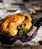 Roast chicken with rosemary and mushrooms