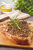 Thick round fillet of pork coated with Colombo seeds