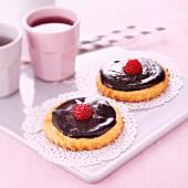 Chocolate-raspberry tartlets