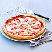 Tomato, mozzarella and bacon thin tart