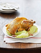 Roast guinea-fowl with cabbage