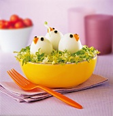 Lettuce salad with chick-shaped hard-boiled eggs