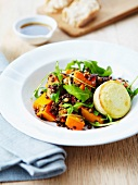 Lentil and squash salad with a hot Crottin de Chavignol
