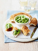Herb puree with sesame bread