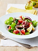 Mixed salad with cold roast beef