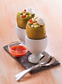 Kiwis filled with strawberries and apple