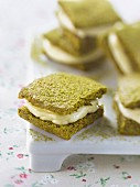 Matcha tea cookie sandwiches filled with white chocolate Ganache