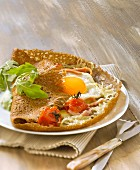 Ham, cheese, tomato and egg wholemeal crepe