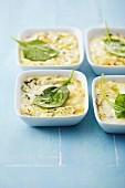 Individual zucchini and Brousse cheese-topped dish