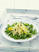 Rocket lettuce, fennel, pear and caper salad