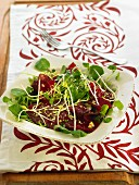 Beetroot, watercress, pistachio and sprouted seed salad
