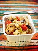 Pasta, confit tomato, mushroom, green and black olive salad