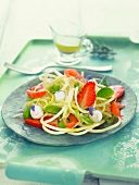 Asian noodle, baby spinach, strawberry, mozzarella and tomato salad
