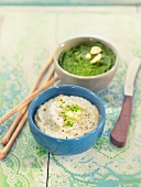 White haricot bean,mushroom and almond or spinach spreads