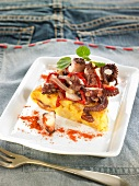 Octopus,red pepper and saffron omelette