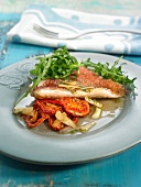 Sea bream with confit tomatoes, rocket lettuce and garlic