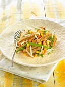 Green bean, carrot, beansprout, sweet corn and seitan salad