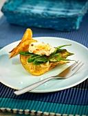 Potato crisp, small green pepper and Dublin Bay prawn appetizer