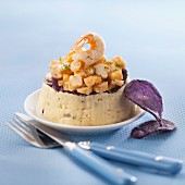 Artichoke-truffle puree,purple potato crisps and diced lobster