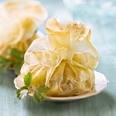 Chicken and apple filo pastry purses