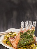 Loin of milk-fed lamb in herb crust with fava beans