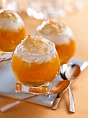 Stewed apricots with meringue topping