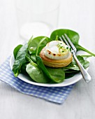 Goat's cheese and honey mini puff pastry tarlet with baby spinach leaves