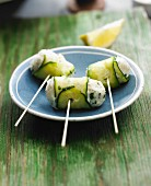 Zucchini rolls stuffed with goat's cheese