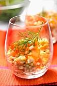 Tapioca, surimi and salmon roe salad