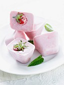 Strawberry-mint ice cubes