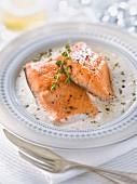 Salmon cooked with Champagne