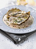 Oysters with creamy truffle sauce