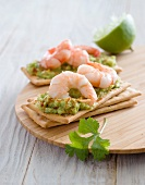Guacamole and shrimp canapés