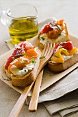 Ricotta and grilled pepper Bruschettas