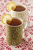 Cups of lemon tea