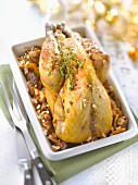 Stuffed guinea-fowl with wild mushrooms and hazelnuts