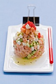 Salmon and avocado tartare with lumpfish roe