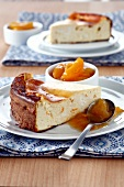 Cheesecake with stewed apricots