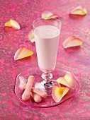 Rose water and strawberry milk shake