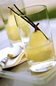 Poached pear in vanilla syrup