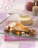 Chicken supreme with mushrooms and celeriac puree
