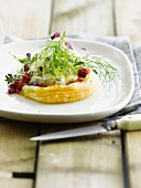 Goat's cheese puff pastry tartlet