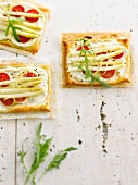 White asparagus and cherry tomato tartlets