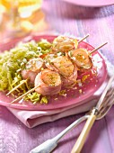 Scallop and bayonne raw ham brochettes