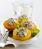 Peach halves filled with tuna