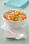 Long grain rice salad with crab meat,clementines and carrots