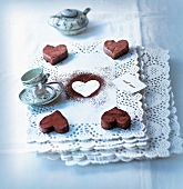 Small heart-shaped chocolate cakes