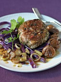 Duck steak with chestnuts and red cabbage