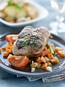 Roast beef with lemon leaves,diced carrots